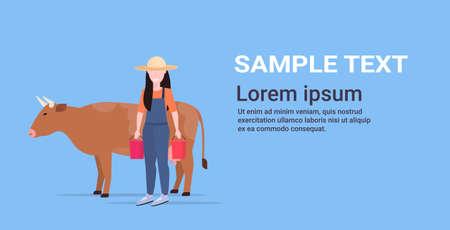 woman farmer carrying fresh milk pails domestic animal cattle eco farming breeding concept flat full length copy space horizontal vector illustration