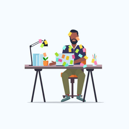 businessman covered with stick notes business planning deadline concept african american office worker using laptop sitting at workplace flat full length vector illustration