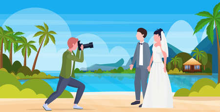 professional wedding photographer shooting on camera newly weds couple bride and groom embracing tropical island summer sea beach seaside landscape background full length flat horizontal vector illustration