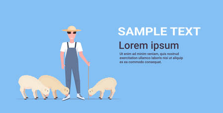 shepherd with stick herding flock of white sheep smiling male farmer breeding sheep eco farming concept flat full length horizontal copy space vector illustration