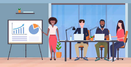 businesswoman presenting financial graph on flip chart to mix race businesspeople team at conference meeting presentation concept modern co-working office interior full length horizontal vector illustration
