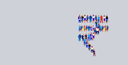 businesspeople crowd gathering in INR rupee currency shape different business people group standing together social community money symbol concept horizontal vector illustration