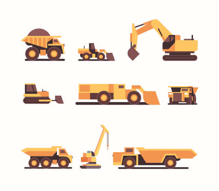 set different heavy yellow industrial machines coal mine production professional equipment mining industry transport concept flat vector illustration