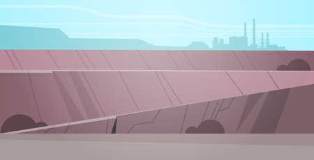 Miniere a cielo aperto cava di pietra miniera industriale concetto di produzione open pit colline montagne sfondo orizzontale piana illustrazione vettoriale