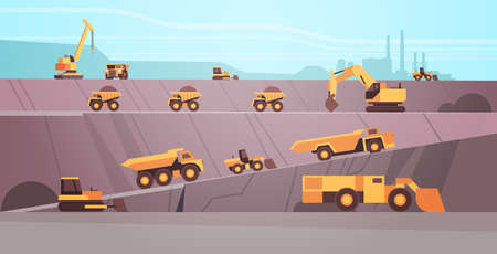 professional equipment working on coal mine production extraction industry mining transport concept opencast stone quarry background flat horizontal vector illustration