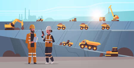 engineers using radio and tablet workers controlling professional equipment working on coal mine extraction industry mining transport concept opencast stone quarry background flat horizontal vector illustration