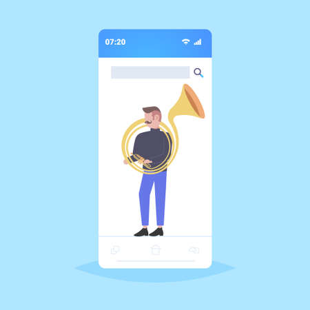 man tuba player musician playing the baritone jazz mood beautiful voice concept smartphone screen online mobile application flat full length vector illustration