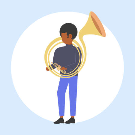 man tuba player african american musician playing the baritone jazz mood beautiful voice concept flat full length vector illustration