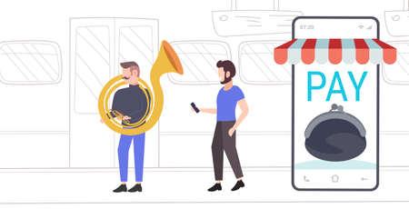 public transport passenger using smartphone mobile app for paying to man tuba player musician playing the baritone in train flat full length horizontal vector illustration