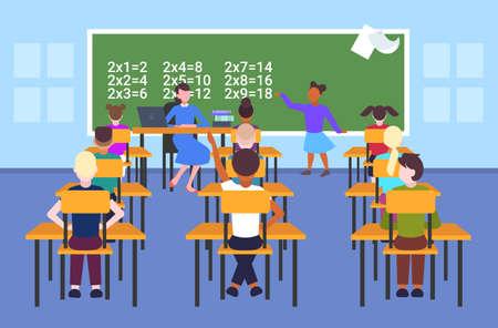 female teacher with pupils sitting at desks looking at schoolgirl solving math problem at chalkboard school lesson education concept modern school classroom interior flat full length horizontal vector illustration
