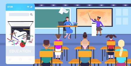 teacher with pupils sitting at desks looking at schoolboy speaking at world map geography lesson school education concept online mobile app classroom interior full length horizontal vector illustration