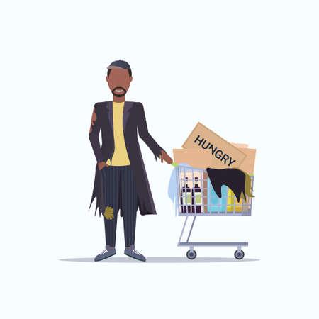 Armer Mann, der Trolley-Wagen mit Habseligkeiten schiebt, afroamerikanischer Mann, der auf der Straße um Hilfe bettelt, Obdachloses Konzept, weißer Hintergrund in voller Länge Vektor-Illustration