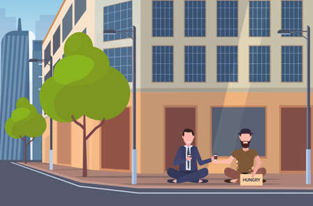 business man drinking coffee talking with beggar sitting on city street hungry sign board begging for help homeless jobless concept building exterior cityscape background full length horizontal vector illustration