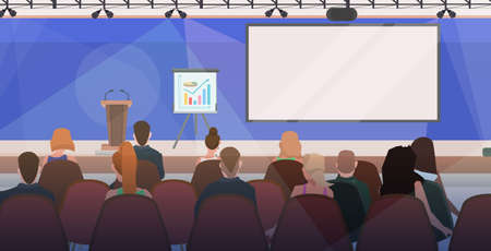 businesspeople at business meeting modern conference hall with board and flip chart boardroom interior horizontal flat vector illustration