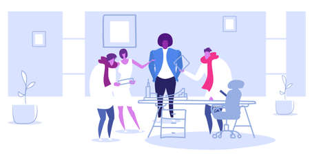 mix race businesspeople discussing new project during training conference meeting men women creative team project discussion concept sketch doodle horizontal full length vector illustration Illusztráció