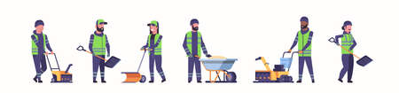 cleaners team working together snow removal winter street cleaning service concept men women in uniform using different equipment and tools flat full length horizontal vector illustration