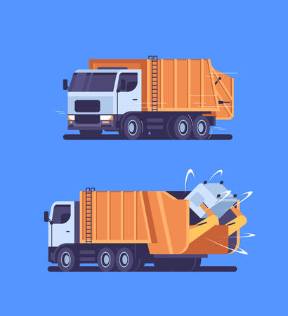 orange garbage truck picking up recycle trash bin urban sanitary vehicle waste transportation street cleaning service concept front side back view flat vertical blue background vector illustration