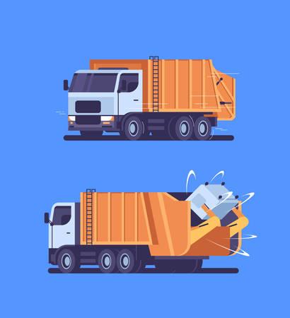 Orange Müllwagen Abholung Recycling Mülleimer städtische Sanitärfahrzeug Abfalltransport Straßenreinigung Service Konzept Vorderseite Rückseite Ansicht flach vertikal blauer Hintergrund Vektor-Illustration Vektorgrafik