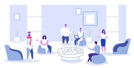 businesspeople discussing new project during conference meeting business people creative team office workers teamwork briefing concept sketch doodle horizontal full length vector illustration