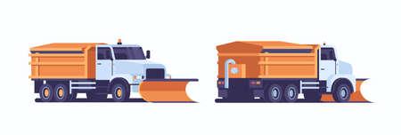 Spargimento di sale su autostrada spargisale spazzaneve icona carrello pulizia professionale veicolo stradale inverno rimozione neve concetto anteriore posteriore vista laterale piana orizzontale illustrazione vettoriale