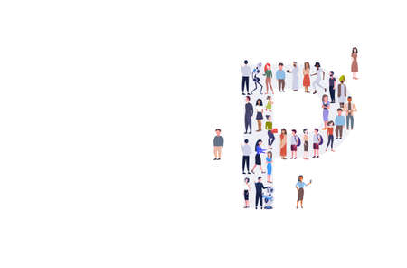 businesspeople crowd gathering in letter P shape English alphabet concept mix race men women casual people group standing together full length horizontal vector illustration Ilustração