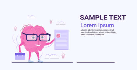 human brain hr manager holding resume curriculum vitae recruitment candidate job position concept pink cartoon character kawaii style horizontal sketch copy space vector illustration
