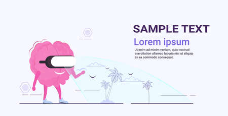 cute human brain organ wearing digital glasses virtual reality tropical island sea beach summer vacation headset vision concept pink cartoon character kawaii style horizontal copy space vector illustration 向量圖像