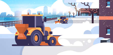 snow plow tractors cleaning city snowy road winter street snow removal concept residential area cityscape background flat horizontal vector illustration