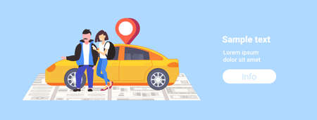 couple using smartphone ordering taxi mobile navigation app with location gps position on city map car sharing concept cityscape top angle view flat full length horizontal copy space vector illustration