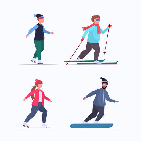 set fat obese people skating skiing and snowboarding overweight mix race men women different winter fun sport activities weight loss concept full length flat vector illustration
