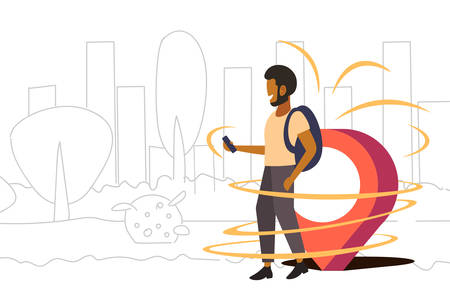 man using mobile navigation app with location marker gps position geo tag travel concept african american guy traveler walking outdoor cityscape background doodle full length horizontal vector illustration