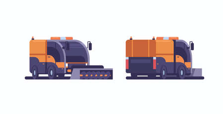 snow plow truck icon professional cleaning road vehicle winter snow removal concept front side back view flat horizontal vector illustration