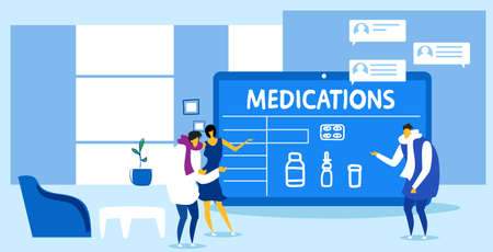 patients couple buying medications man woman discussing with online medical consultant pharmacy healthcare e-commerce concept modern office interior sketch horizontal full length vector illustration
