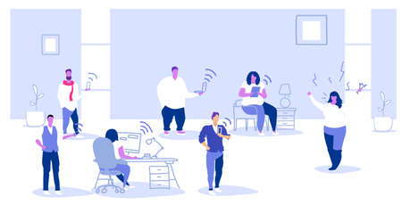 unsatisfied fat woman boss screaming on employees sitting in gadgets bad job digital addiction concept angry employer shouting on workers modern office interior sketch horizontal vector illustration Illustration