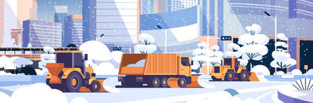 snow plow truck and tractors cleaning snowy road winter street snow removal concept modern city buildings cityscape background flat horizontal vector illustration Illustration