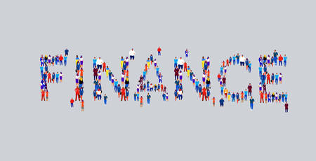 businesspeople crowd gathering in shape of finance word different business people employees group standing together social media community concept flat horizontal vector illustration