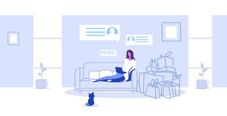 woman with purchases sitting on couch using laptop girl doing online shopping e-commerce concept modern living room interior sketch full length horizontal vector illustration
