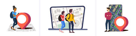 set people using navigation app with location marker gps position on city urban map with buildings and streets travel concepts collection cityscape top angle view flat full length horizontal vector illustration Vektorgrafik