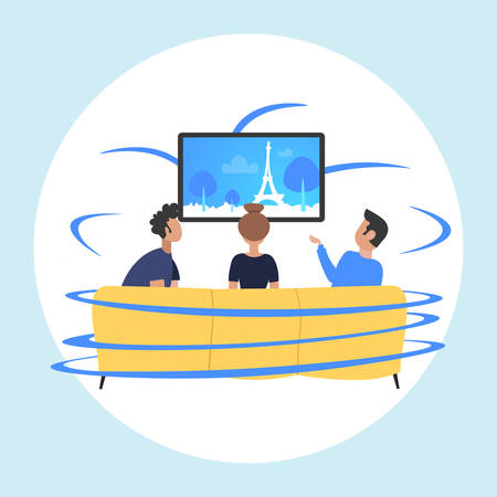 people sitting on sofa rear view friends watching famous landmarks tv travel show concept paris city silhouette on television flat portrait vector illustration Illustration