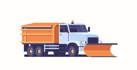 spreading salt on highway gritter snow plow truck icon professional cleaning road vehicle winter snow removal concept flat horizontal vector illustration
