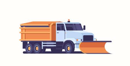 Streusalz auf Autobahn Streuer Schneepflug LKW Symbol professionelle Reinigung Straßenfahrzeug Winter Schneeräumung Konzept flache horizontale Vektorillustration vector