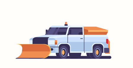 snow plow pick up truck icon professional cleaning road vehicle winter snow removal concept front view flat horizontal vector illustration Illustration