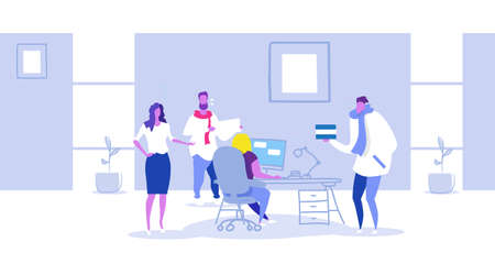 businesspeople meeting with female boss working at workplace with computer business people discussing new project brainstorming concept modern office interior sketch horizontal full length vector illustration