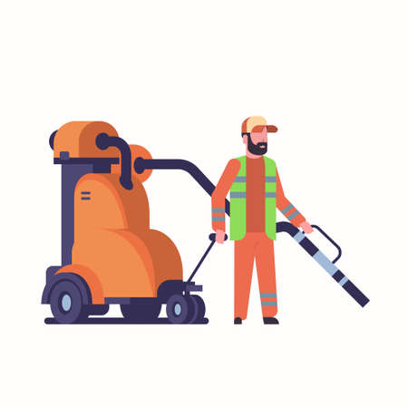 male street janitor using industrial vacuum cleaner man in uniform vacuuming garbage streets cleaning service concept full length flat white background vector illustration 벡터 (일러스트)