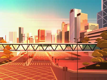 footbridge over highway asphalt road with marking arrows traffic signs city skyline modern skyscrapers cityscape sunset background flat horizontal vector illustration Ilustração