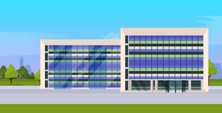 modern corporate architecture office building exterior with large panoramic windows flat vector illustration