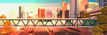 footbridge over highway asphalt road with marking arrows traffic signs city skyline modern skyscrapers cityscape sunset background flat horizontal vector illustration