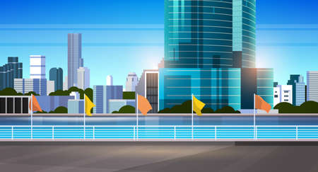 city skyline modern skyscrapers fence and river against cityscape background flat horizontal banner vector illustration
