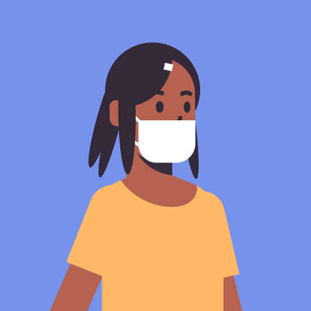 woman wearing face mask environmental industrial smog dust toxic air pollution and virus protection concept african american female cartoon character portrait flat vector illustration