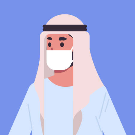 arab man wearing face mask environmental industrial smog dust toxic air pollution and virus protection concept arabian male cartoon character portrait flat vector illustration